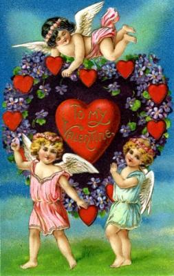Valentine with Cherubs Valentine's Day Wooden