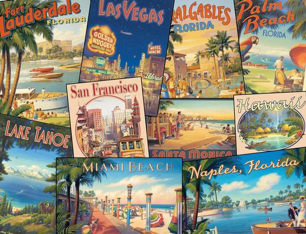 Vintage Vacations Americana Jigsaw Puzzle