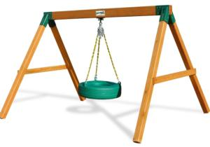 Free Standing Tire Swing - Amber Stained Pine
