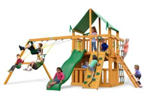 Chateau II Clubhouse Deluxe Swing Set with Amber Posts