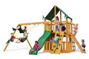 Chateau II Clubhouse Supreme Swing Set with Amber Posts and Green Canvas Canopy