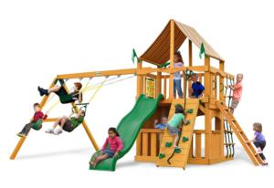 Chateau II Clubhouse Supreme Swing Set with Amber Posts and Weston Ginger Canopy