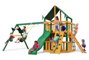 Chateau II Clubhouse Supreme Swing Set with Timber Shield and Green Canvas Canopy
