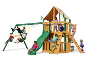 Chateau II Clubhouse Supreme Swing Set with Timber Shield and Weston Ginger Canopy