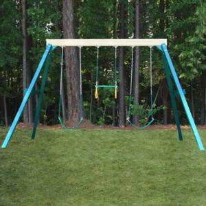CONGO Swing Central 3 Position Swing Set - Green and Sand Low Maintenance Play Set