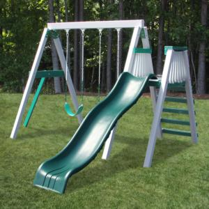 Congo Swing'N Monkey 2 Position - White and Green Low Maintenance Swing Set