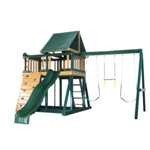Congo Monkey Playsystem #1 with Swing Beam - Green and Cedar