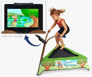 JS iBounce Kids Trampoline w/ Tablet Mount, Crossbar & DVD