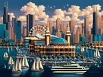 Chicago Navy Pier Americana & Folk Art Jigsaw Puzzle