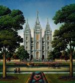 Salt Lake Temple Folk Art Jigsaw Puzzle