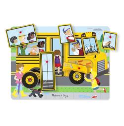 The Wheels On the Bus Song Puzzle Vehicles Wooden Jigsaw Puzzle