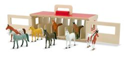 Take-Along Show-Horse Stable Play Set Horses