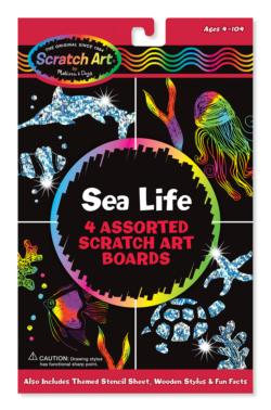 Sea Life Scratch Art Boards