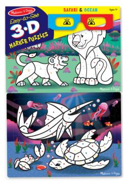 Safari & Ocean Marine Life Children's Coloring Books, Pads, or Puzzles