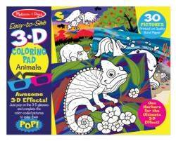 3D Coloring Book - Animals Other Animals Activity Book and Stickers