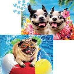 Pugs on Vacation Large Piece