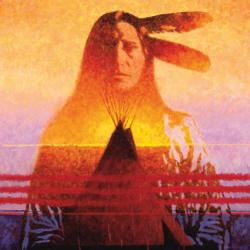 Two Feathers (Native American Sunset) Native American Jigsaw Puzzle