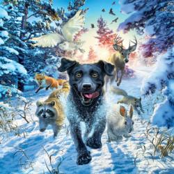 Black Lab - Scratch and Dent Winter Jigsaw Puzzle