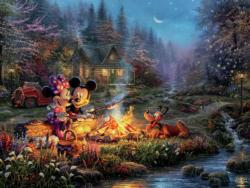 Mickey & Minnie Sweetheart Campfire Cottage / Cabin Jigsaw Puzzle