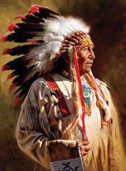 Profile of a Chief (Native Portraits) Native American Jigsaw Puzzle