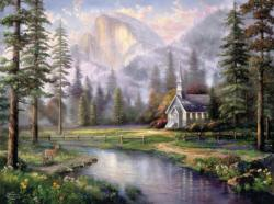 Valley Chapel (Thomas Kinkade 1000 Piece) Lakes / Rivers / Streams Jigsaw Puzzle