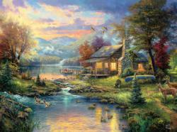 Nature's Paradise (Thomas Kinkade 1000 Piece) Sunrise/Sunset Jigsaw Puzzle