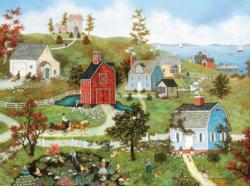 Village at the Bay (Linda Nelson Stocks) Folk Art Jigsaw Puzzle