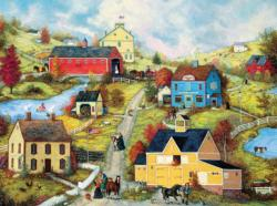 Bridge Country Store Lane (Linda Nelson Stocks) Folk Art Jigsaw Puzzle