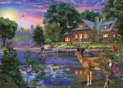 White Tail Deer Lakehouse Cottage / Cabin Jigsaw Puzzle