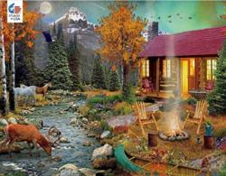 Aurora Lights Cottage / Cabin Jigsaw Puzzle