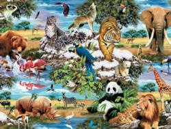 World's Wildlife (1500 Piece Puzzles) - Scratch and Dent Jungle Animals Jigsaw Puzzle