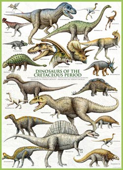 Dinosaurs Cretaceous Pattern / Assortment Jigsaw Puzzle
