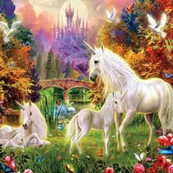 Unicorns By The Castle (Glitter) Unicorns Jigsaw Puzzle