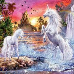 Unicorns By The Sea (Glitter) Unicorns Jigsaw Puzzle