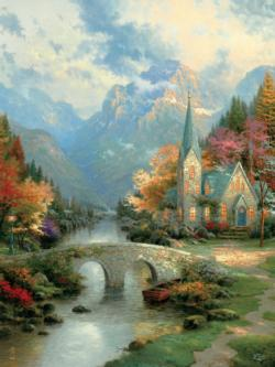 Mountain Chapel  (Thomas Kinkade Inspirations) Countryside Large Piece