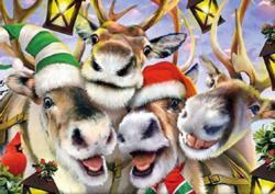 Reindeer Selfies Christmas Jigsaw Puzzle