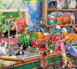 Kitchen Capers Domestic Scene Jigsaw Puzzle