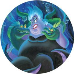 Villains Ursula Cartoon Round Jigsaw Puzzle