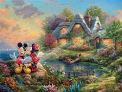 Mickey & Minnie Sweetheart Cove (Disney Dreams) Cottage / Cabin Jigsaw Puzzle