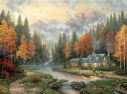 Evening at Autumn Lake Sunrise/Sunset Jigsaw Puzzle