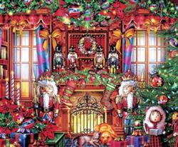 Festive Fireplace Domestic Scene Jigsaw Puzzle