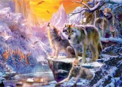 Winter Wolf Family Sunrise / Sunset Jigsaw Puzzle