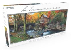 Images of America Panoramic Puzzle - Glade Creek Grist Mill Lakes / Rivers / Streams Panoramic Puzzle