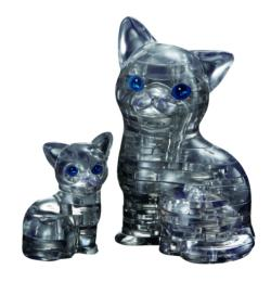 Cat & Kitten Black Kittens Crystal Puzzle