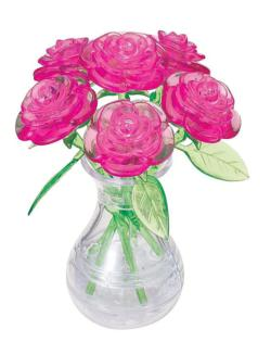 Pink Roses in a Vase Flowers Crystal Puzzle