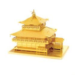 Gold Kinkaku-ji building Landmarks / Monuments Metal Puzzles