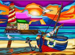 Far Away Lighthouse Boats Jigsaw Puzzle