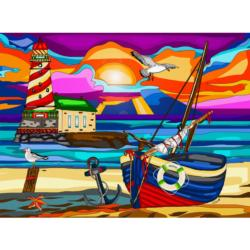 Far Away Lighthouse Boats Jigsaw Puzzle