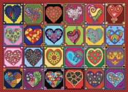 Quilted Hearts Pattern / Assortment Jigsaw Puzzle