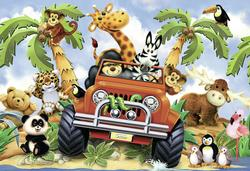 4-Wheeling Jungle Animals Jigsaw Puzzle